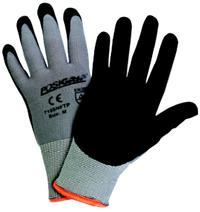 Small/7 Black Microfoam Nitrile on Gray Nylon Gloves