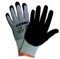 Large/9 Gray Sponge Nitrile Coated Nylon Gloves