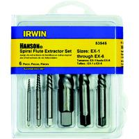 Hanson 6 Piece Spiral Flute Screw Extractors