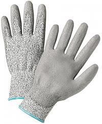 Large/9 PU Palm Coated Speckle Gray HPPE Gloves