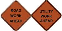 Non-Reflective Road Work Ahead Roll-Up Signs